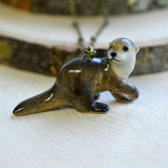 Handpainted river otter necklace